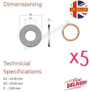 5 x M14 Copper Compression Washers - Metric Hollow Crush Washer Sump Sealing