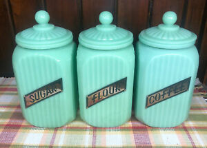 Jadeite Green Glass Large Coffee, Sugar, And Flour Canisters with Glass Lid