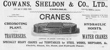 COWANS SHELDON & CO Carlisle; Wagon Turntables - Old Engineer Advert 1909