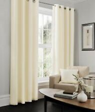 Faux Silk curtain Plain Fully Lined Eyelet Pair of Curtains Ring Top Curtain