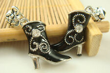 Fashion High-heeled shoes pendant Crystal charms beads For European bracelet e5