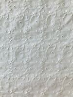 White Cotton Embroidered Eyelet Lace Fabric 44 in wide x 1 yds 17 in Uncut - B