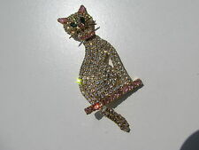 VINTAGE PINK MOONGLOW CABOCHON GLASS RHINESTONE COLLAR TAIL FIGURAL CAT BROOCH