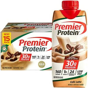 LOT of 90!!! Premier Protein 30g High Protein Shake, Café Latte -Free Shipping!