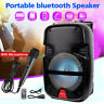 "4400W Wireless Portable Party LED Bluetooth 8"" Speaker W/ Microphone & Remote US"