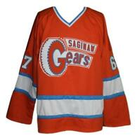 Custom Name # Saginaw Gears Retro Hockey Jersey 1973 Orange Any Size