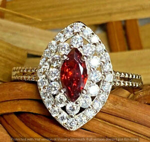 3 Ct Marquise Cut Red Ruby Diamonds Bridal Halo Wedding Ring 14k White Gold Over