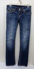 True Religion World Tour Low Rise Thick White Stitch Jeans see dimensions below