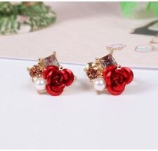 14K Rose Gold Plated Non Pierced Floral Red Flower Rose Pearl Earrings