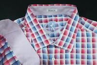 BUGATCHI UOMO SHAPED FIT CONTRAST BUTTON SHIRT MENS XXL LONG SLEEVE PINK CHECK0