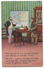 DID YOU EAT ANIMAL FOOD?  Doctor Comic Postcard Bamforth Co. Humor 1908 DB