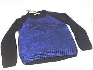 NWT Touch By Alyssa Milano NFL Denver Broncos Womens Shine-On Sweater LRG Navy