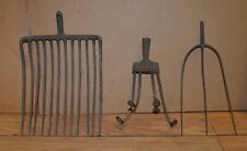 3 antique garden farm tool heads 3 tine fork cultivator manure tool collectible