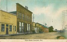 A Closeup View Of The Shops On Main Street, Necedah, Wisconsin WI 1909
