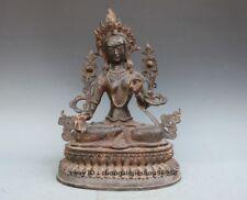 Tibet Nepal old purple Bronze Buddhism White Tara Goddess Kwan-yin Statue