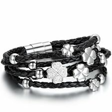 Women's Black Braided Leather Silver Stainless Steel Clover Lucky Charm Bracelet