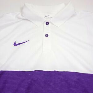 $70 NIKE Dri- Fit Short Sleeve Athletic Polo Shirt Mens Medium Purple & White