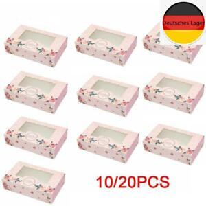 10Pc Box Fenster Cupcake Pin Rose Boxen für 6 Cup Cake Party Kuchenblech Diy
