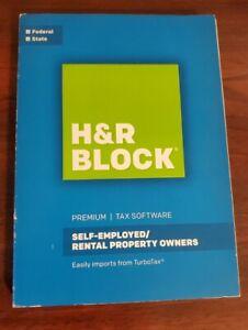 2016 H&R BLOCK SELF-EMPLOYED RENTAL PREMIUM TAX Software FED/State PC/Mac