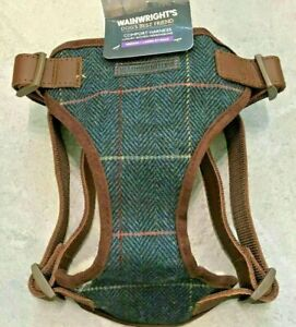 Wainwright's Luxurious Woven Herringbone Dog Harness Ink Blue