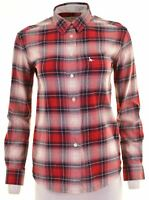JACK WILLS Womens Shirt UK 6 XS Red Check Cotton Loose Fit  GY06