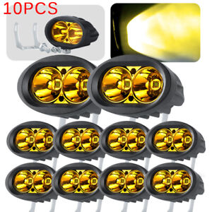 10X 4in 20W LED Yellow Work Light Bar Spot Offroad Truck Driving Fog Pod ATV UTV