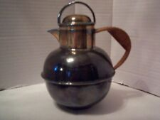 Vintage Sheffield Silver On Copper Tea Pot Pitcher, 4 Hallmarks, 6 - 2, Wicker