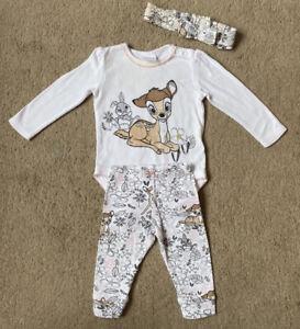 F+F Baby Girls' Disney Bambi Outfit Set Babygrow Leggings Headband 3-6 Months