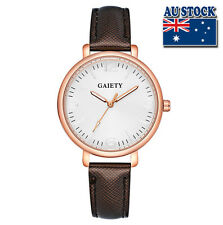 Fashion Brown Leather Steel White Dial Quartz Watch Women Lady Wrist Watch