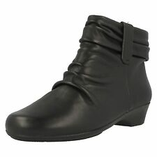 "Clarks 'Matron Ella' Black Leather Zip Up 1.25"" Wedge Heel Ankle Boots E Fit"