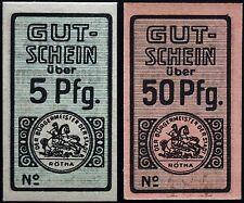 RÖTHA 5+50 Pf one w/o serial +RADAR! small cardboard circulating Notgeld Germany