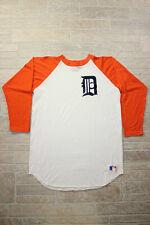 L Vtg 70s/80s DETROIT TIGERS SAND KNIT raglan Orange Two Tone Baseball MLB Shirt
