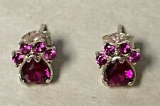 Adorable Tiny Sterling Silver Paw Print Pink To Red Post Earrings Marked 925