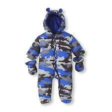 NWT Childrens Place Baby Boy Winter Ski Blue Camo Snowsuit SZ 3-6 6-9 Months