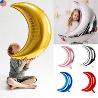 50Pcs Big Moon Shape Foil Ballons 32 Inch Helium Home Decor Party Birthday Game