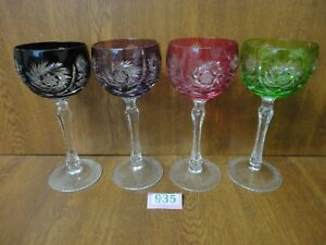 4 x Good Quality Vintage Harlequin Cut To Clear Crystal Wine / Hock Glasses