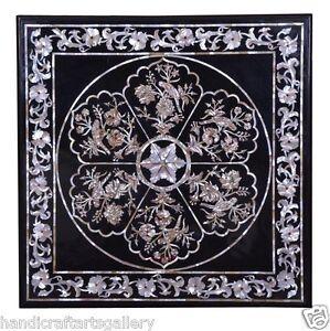"24""x24"" Black Marble Coffee Center Table Top Gem Mosaic Home Work Decorative Art"