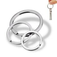 10pcs Key Chain Stainless Steel Round Flat Line Key Holder Jewelry Making Rings