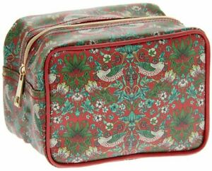 Red Strawberry thief  cosmetics Bag - Lesser & Pavey Cotton Canvas/Wipe Clean.BN