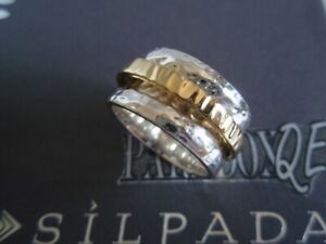 SILPADA Rare Hammered Sterling Silver 925 14K Spinner Ring Sz 8 R1476 Men Women