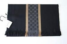 GUCCI 162226 Strickschal mit GG-Muster 35x180 cm Wolle Seide schwarz gold NEU