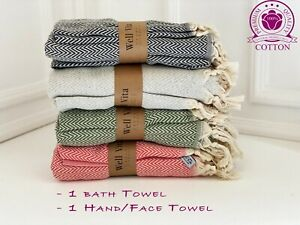 Bath And Hand Towel, Beach Towel, Pesthemal, Cotton Towel, Set Of 2