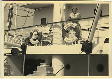 Old photo-cruise ship Greece woman bridge-boat cruise-vintage snapshot