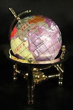 Genuine Multi-Gemstone Desktop Globe Gold Tone Base Light Purple Globe Free S&H