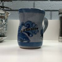 Tonala Mexican El Palomar Folk Art Signed Pitcher Creamer w/ Blue Bird