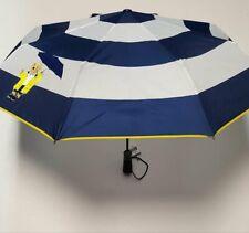 RALPH LAUREN Polo Bear Raincoat Collapsible Automatic Compact Umbrella Wht Navy
