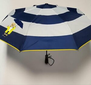 RALPH LAUREN Polo Bear Raincoat Collapsible Automatic Compact Umbrella Wht Navy