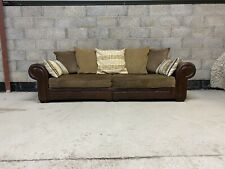 Vintage Tetrad Style Chesterfield Aged Leather & Fabric Club 3 Seater Sofa