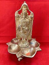 "God Balaji Venkateswara statue with deepam hindu god brass 11""  Usa Seller"