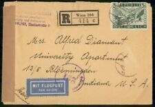 Mayfairstamps Austria 1947 Registered Wien to IN Censored Cover wwe_91287